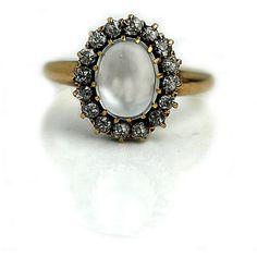 Vintage Moonstone Ring 2.00ctw Antique Moonstone Engagement Ring 14Kt Rose Gold Alternative Engagement Ring Art Deco Moonstone Ring! by ArtDecoDiamonds on Etsy https://www.etsy.com/ca/listing/463332975/vintage-moonstone-ring-200ctw-antique
