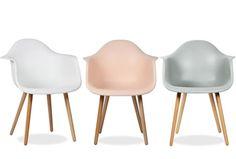 59€ Coqueta silla Dimero. Silla de diseño actual para salones o comedores. Asiento y respaldo en polipropileno. Patas en madera de haya. Disponible en 4 colores. Deskontalia Productos - Descuentos del 70%