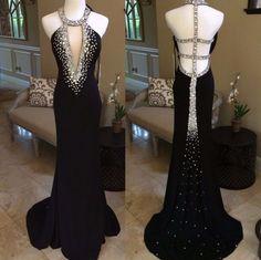 beaded black backless halter formal charming 2018 long prom dress from Ada Dress Mermaid Prom Dresses, Cheap Prom Dresses, Formal Dresses, Black Evening Dresses, Stretch Satin, Formal Prom, Backless, Gowns, Dress Long