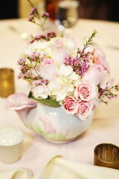tea cup floral centerpieces | Tea pot and tea cup centerpieces done for one of our weddings. www ...