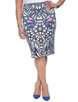 Stained Glass Pencil Skirt   Women's Plus Size Skirts   ELOQUII