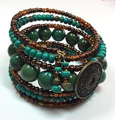 A personal favorite from my Etsy shop https://www.etsy.com/listing/245923605/turquoise-wrap-bracelet-button-bracelet