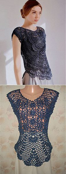 Navy Motif Lace Top free crochet graph pattern