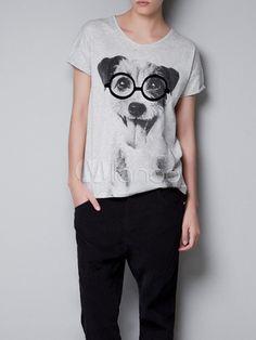 Casual Light Gray Dog Print Crewneck Cotton Short Sleeves Tee Shirt For Women - Milanoo.com Custom T Shirt Printing, Printed Tees, Printed Shorts, Grey Dog, Gray, Grey Shorts, Looks Style, Fashion Prints, Women's Fashion