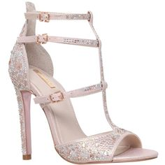 Carvela Gaye Multi Strap Stiletto Sandals, Pink Embellished ($180) ❤ liked on Polyvore featuring shoes, sandals, pink high heel sandals, flat shoes, pink sandals, peep toe flat sandals and strappy flat sandals
