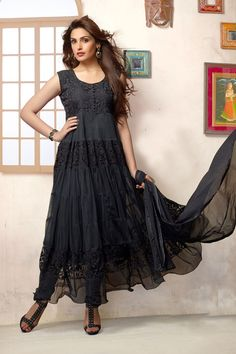 Black brasso net designer #anarkalisuit shop online from #craftshopsindia