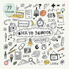 Hand Drawn School Clip Art/Education Elements and Symbols/Kids Clipart/Doodle Collection/Editable Ve - sketchnotes - Doodle Drawings, Doodle Art, Doodle Sketch, Sketch Drawing, How To Doodle, Doodle Kids, Doodle Frames, Notebook Doodles, Planner Doodles