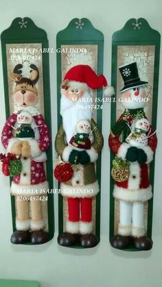 Christmas 2019 : Felt Christmas decorations on wooden frames Cute Christmas Ideas, Felt Christmas Decorations, Christmas Ornaments To Make, Christmas Sewing, Elegant Christmas, Noel Christmas, Christmas Pictures, Christmas Projects, Christmas 2019