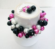Pearl Bridesmaid Bracelet, Hot Pink Pearl Bracelet, Cerise, Black and White Cluster Bracelet, Gift For Her, Wedding Party Jewelry