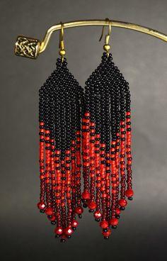 Red and Black Fringe earrings Beaded by HandmadeGiftsStore on Etsy