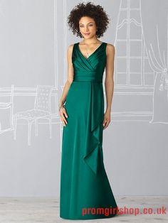 Off-the-shoulder v-neck satin dark green long Bridesmaid Dresses PGBD0031