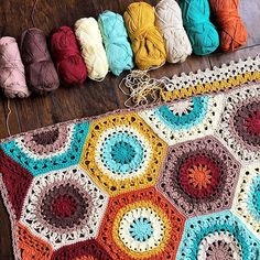 """Update: Pattern published on Ravelry! Link in profile ❤️❤️ My Calliope """"Callie"""" Blanket is getting her border worked out ❤️ Nearly ready for pattern release! So happy to finish this one before year end. Another 2017 box checked!  #CallieBlanket #FreshEarthPalette #cypresstextiles #scheepjes #scheepjescotton8 #cotton #cotton8 #hexagon #crochet #haken #virka #ganchillo #earthtones #warmcolors #fallcolors #crochetblanket #blanket #crochetpattern #autumncolors #rust #crochetersofinstagram"""