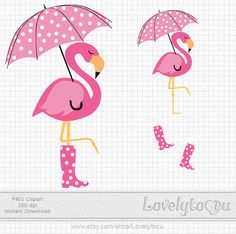 Pink flamingo clipart, a flamingo with umbrella digital PNG clip art (32) on Etsy, $3.50