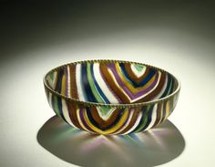 cmog: Striped Mosaic Bowl, Roman Empire; probably Italy, about 25 BC-50 AD. 66.1.214. (via Striped Mosaic Bowl | Corning Museum of Glass)