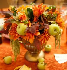 Fall Floral Arrangements can include Fall harvested fruits and vegetables...