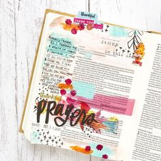 "Mixed Media Bible Journaling by Heather Greenwood: ""Last night I opened my brand new Bible to write a prayer for this month of gratitude prayers. Scripture Art, Bible Art, Bible Scriptures, Worship Songs Lyrics, New Bible, Thank You Lord, Illustrated Faith, Prayers, Thankful"