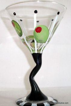 painted+crooked+martini+glasses | Dishwasher Safe Martini Glass - Olives, Crooked Stem, Hand Painted ...