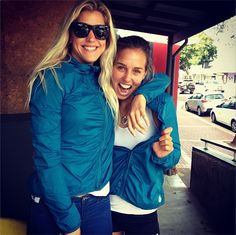 Rosy Hodge & Sally Fitzgibbons rocking the #ROXYOutdoorFitness Atmosphere jackets on a Lay Day