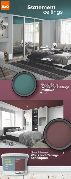 2019 is the time to make use of forgotten space and embrace the fifth wall – the ceiling. A statement ceiling can be created using colours or patterns to make the ultimate dramatic effect. A bold ceiling will do wonders at pulling a room together, and loo Bathroom Paint Colors, Paint Colors For Home, Paint Colours, Room Colors, Living Room Designs, Living Room Decor, Bedroom Decor, Pintura Exterior, Colored Ceiling