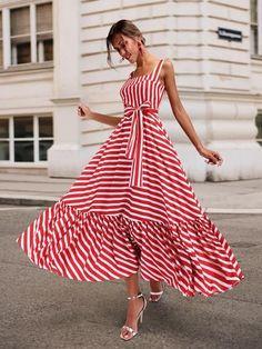 Boho Summer Beach Dress Women Spagetti Strap Red Striped Dress Plus Size Ruffle Long Maxi Dress Xxxl – Mode Outfits Striped Maxi Dresses, Women's Dresses, Casual Dresses, Short Dresses, Fashion Dresses, Summer Dresses, Hijab Casual, Dresses Online, Long Skirts