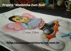 """Projeto """"Abelhinha Zum Zum"""" - aula de pintura em tecido"""