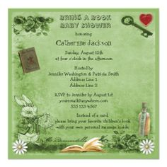Mad Hatter & Cheshire Cat Bring a Book Shower Invites