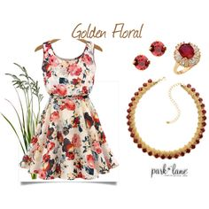 Golden Floral by parklanejewelry on Polyvore featuring Park Lane