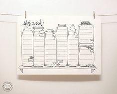 Voici un outil astucieux pour organiser vos tâches hebdomadaires : un planificateur hebdomadaire perpétuel dans un environnement amusant, style doodle joli, dessinés à la main. Juste imprimer une copie chaque semaine sur votre imprimante personnelle et rendre vos notes. Imprimable en une seule couleur - noire, sur une imprimante personnelle base noire & blanche. Épingler sur votre bord doux, ou coller sur votre frigo et utiliser le planificateur chaque semaine pour toute lannée. Toutes vos…