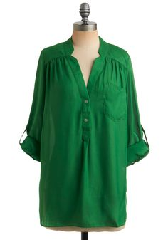 Green tunic from Modcloth. This is my new favorite color to wear. I'd throw this on with skinny white jeans (if I had any), high cork wedges, and some chunky orange earrings. Amen.