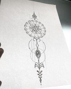 Bússola com ornamentos! Art feminina pra Tattoo! #blackwork #tattoo #art #arte #ink #inked #tatuagem #tatuagemfeminina #girltattoo #fineline #finelinetattoi