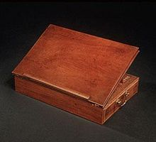 Jefferson drafted the Declaration on this portable lap desk of his own design.