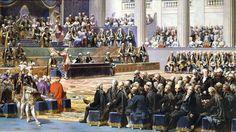 Assembleia francesa em 1789: os representantes do status quo à direita; os representantes do povo à esquerda.