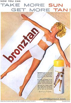 """Pin for Later: Make a Splash This Summer With Vintage Ads Safe enough for baby's skin . so you can take some parenting tips from """"tanning mom"""" and sunbathe with your kid! Vintage Advertisements, Vintage Ads, Vintage Images, Safe Tanning, What Women Want, Beauty Ad, Vintage Bikini, Baby Skin, Mad Men"""