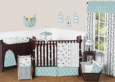 Sweet Jojo Designs 9Piece Turquoise Blue and Gray Earth and Sky Birds Nature Girl or Boy Baby Bedding Crib Set >>> Want additional info? Click on the image.-It is an affiliate link to Amazon. #Bedding