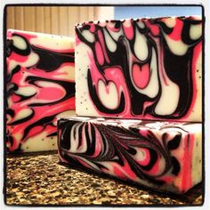 Dragonfruit drop swirl soap by Lisa of Kangaroo Apple Soap Studio