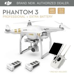DJI-Phantom-3-Professional-GPS-Drone-4K-12-Megapixel-HD-Camera-W/Extra-BATTERY