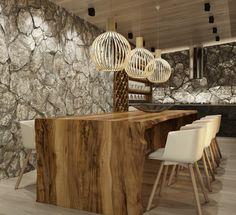 Inneneinrichtung Design Massiv Holz Esstisch Natursteine