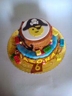 #Lego #pirate #cake Lego, Birthday Cake, Homemade, Sweet, Desserts, Food, Candy, Tailgate Desserts, Birthday Cakes