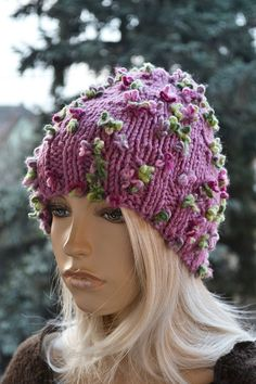 Knitted Slouchy cable style beanie hat -  womens chunky - accessories  - thick and extra warm-  Hat Winter