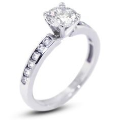 3.39 Carat Excellent Cut Round J-SI1 GIA Certified Diamond 14k Gold Accents Engagement Ring 3.54gr