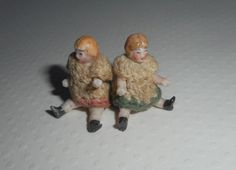 Pair Carl Horn Teeny Tiny Dolls In Crochet Outfits c1915 from theluckyblackcat on Ruby Lane