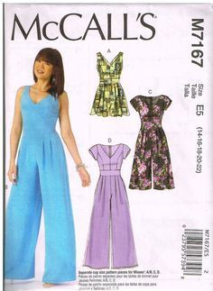 McCall's M7167, Home Sewing Pattern, Misses' Romper and Jumpsuits, Size 14, 16, 18, 20, 22, Plus Size by OhSewWorthIt on Etsy