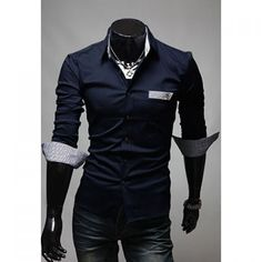 Fashionable Gentle Style Shirt Collar Solid Color Long Sleeves Slimming Cotton Shirt For Men, NAVY, XL in Shirts | DressLily.com