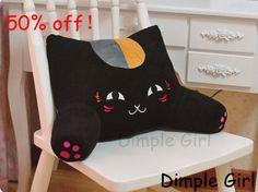 kawaii accessories car decorative pillows cute plush toy black lucky cat back support waist cushion for boyfriend girlfriend kid on AliExpress.com. $35.44