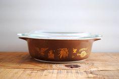 Vintage Casserole - Pyrex Early American Pattern Brown Bowl
