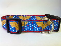 Hey, I found this really awesome Etsy listing at https://www.etsy.com/listing/159480925/wonder-woman-dog-collar-traditional-blue