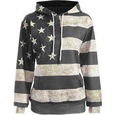 American Flag Print Pullover Hoodie ($25) ❤ liked on Polyvore featuring tops, hoodies, sweatshirt hoodies, hooded pullover sweatshirt, usa flag hoodie, hooded sweatshirt and pullover top