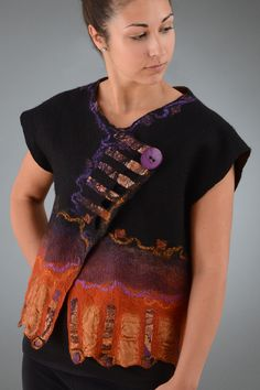 Nuno felt seamless garment made with silk and merino wool roving. One-of-a-kind wearable art.