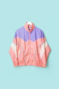 90s Pastel Pink Windbreaker Kawaii Thin Stripes by BrooklynVoyager