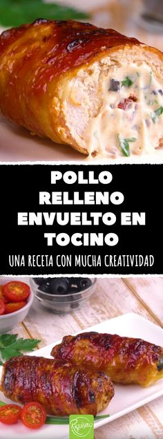 Pollo relleno envuelto en tocino: una receta con mucha creatividad #recetas #pollo #tocino #bacon #cocinacreativa #pollorelleno #polloconbacon Meat Recipes, Gourmet Recipes, Mexican Food Recipes, Chicken Recipes, Cooking Recipes, Ethnic Recipes, Perfect Food, Italian Recipes, Food Dishes